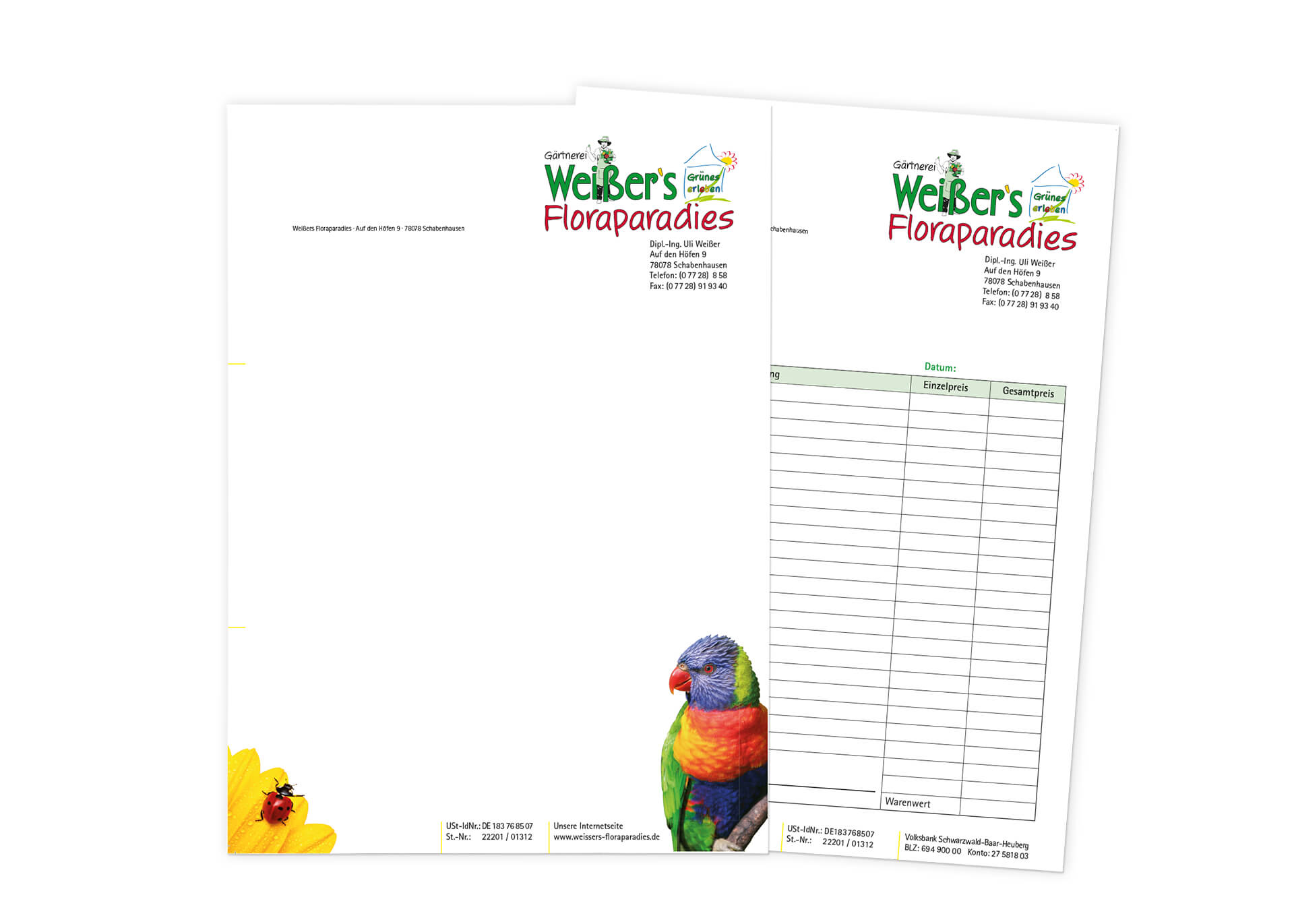 Gestaltung Weisser Briefpapier und Lieferscheine